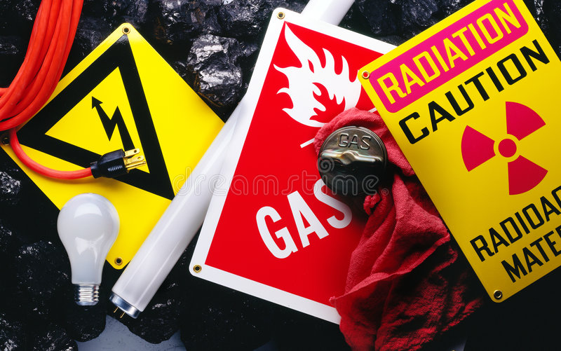 Warning signs. Electrical and radiation warning signs royalty free stock photography