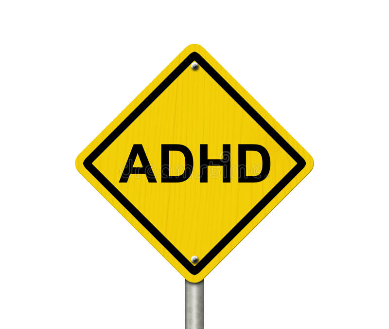 Warning Signs of ADHD. An American road warning sign with word ADHD isolated on a white background royalty free stock images