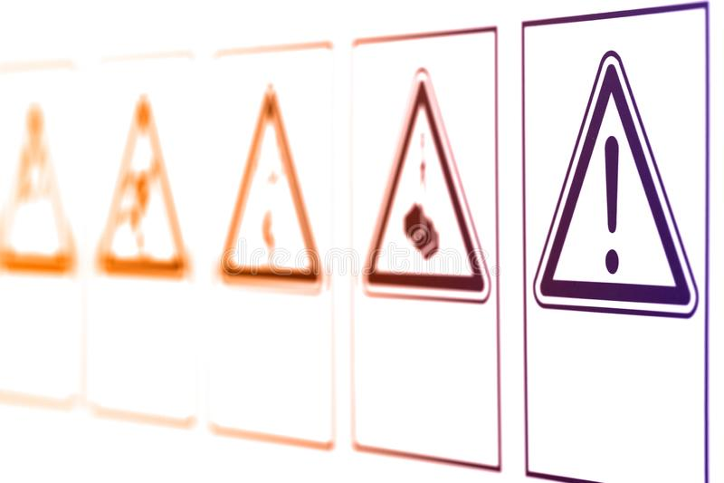 The warning signs in the form of a triangle stock image