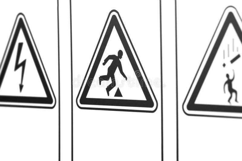 The warning signs in the form of a triangle stock images