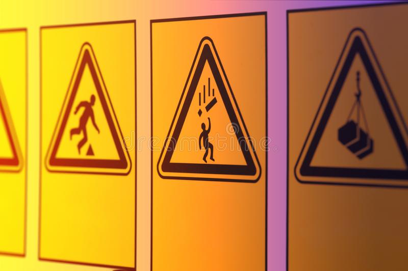 Warning signs in the form of a triangle royalty free stock image