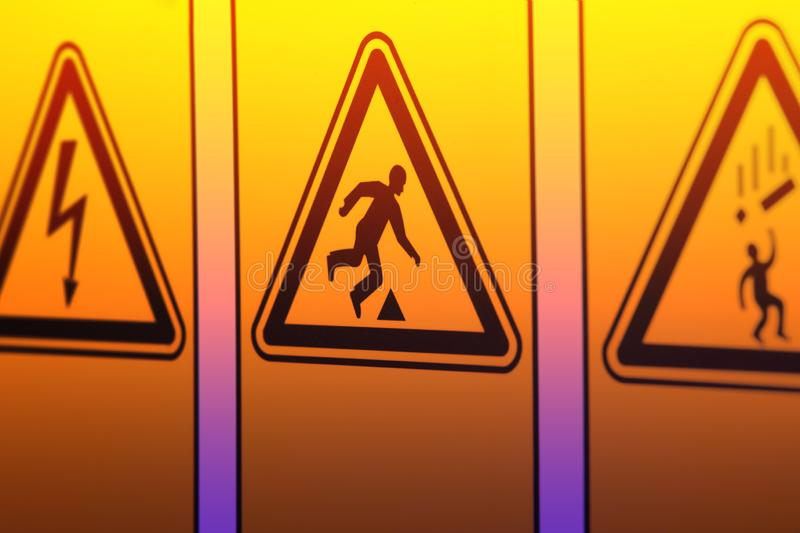 Warning signs in the form of a triangle stock photography