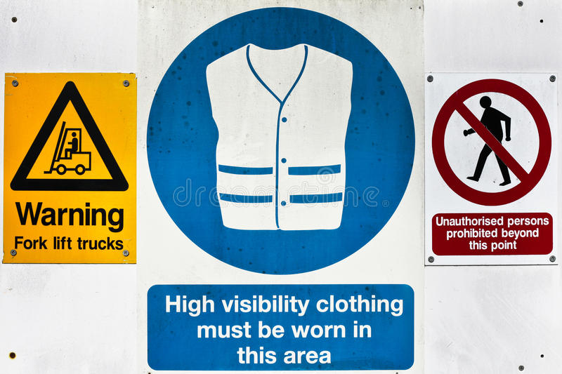 Warning signs. Health and safety warning signs at a construction site royalty free stock images