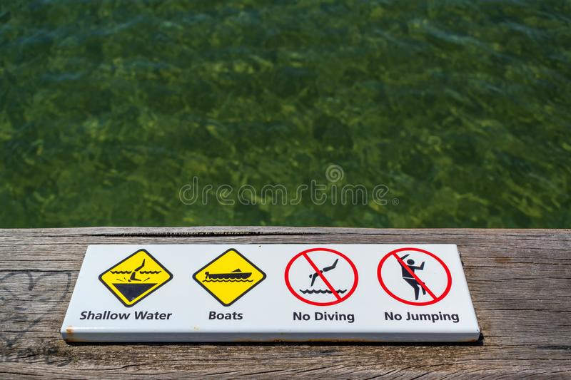 Warning signs by the ocean. In Frankston, Victoria, Australia royalty free stock photography