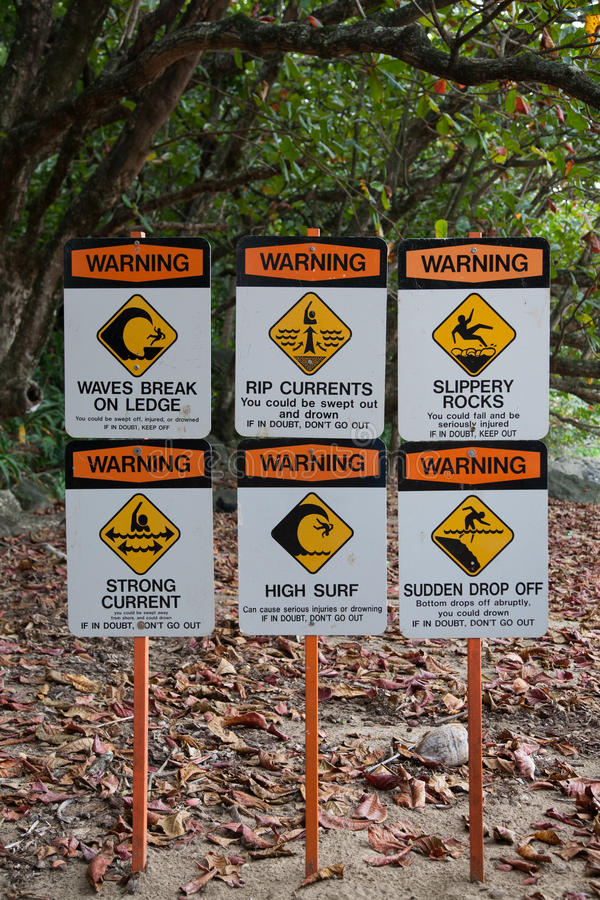 Warning Signs on Surfing Site Beach Hawaii. Warning Signs on Surfing Site by Beach Hawaii stock image