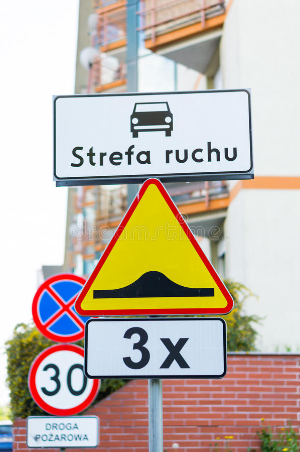 Warning signs. Traffic signs with different warnings stock photos