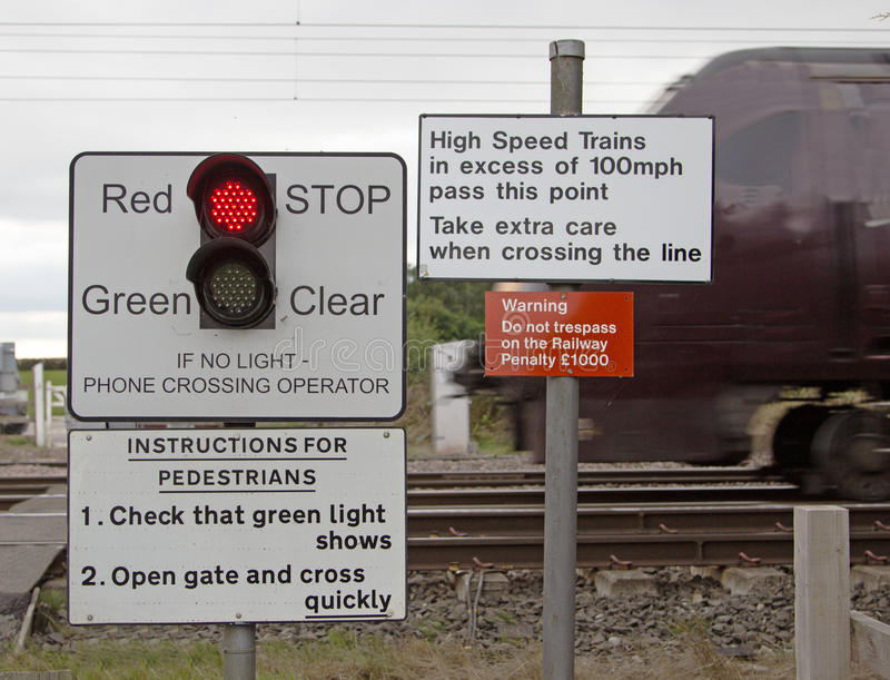 Warning Signs. Where a footpath crosses a railway line, showing a red light indicating it is not safe to cross, with a train passing behind royalty free stock photography