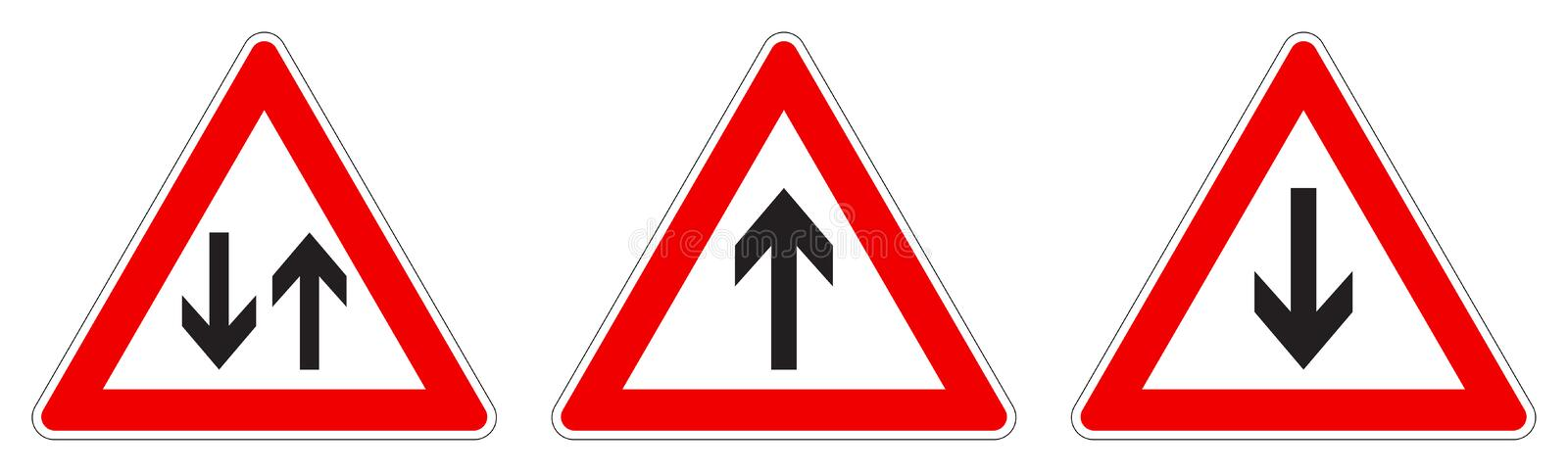 Warning - single/two way traffic sign. Black arrow in red triangle, version with arrow pointing up, down and both ways royalty free illustration