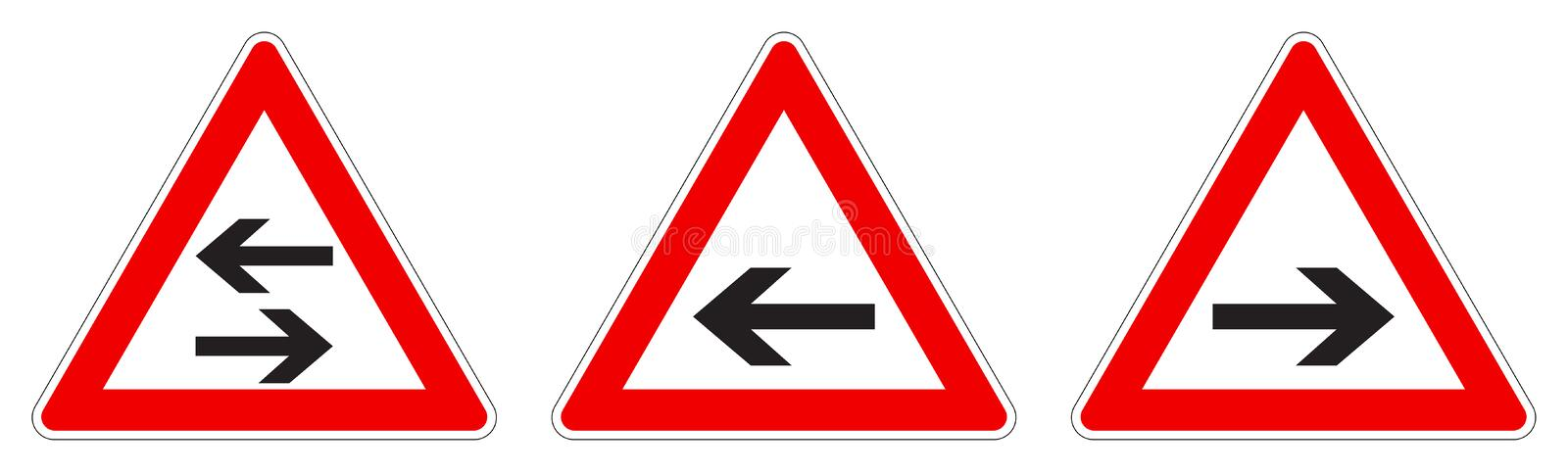 Warning - single/two way traffic sign. Black arrow in red triangle, version with arrow pointing left, right and both ways stock illustration