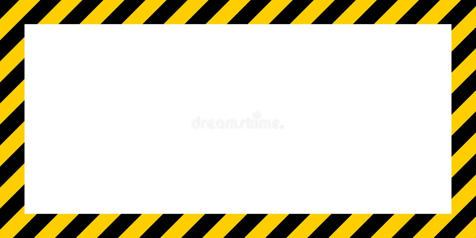 Warning striped rectangular background border yellow and black color Construction warning border stock illustration