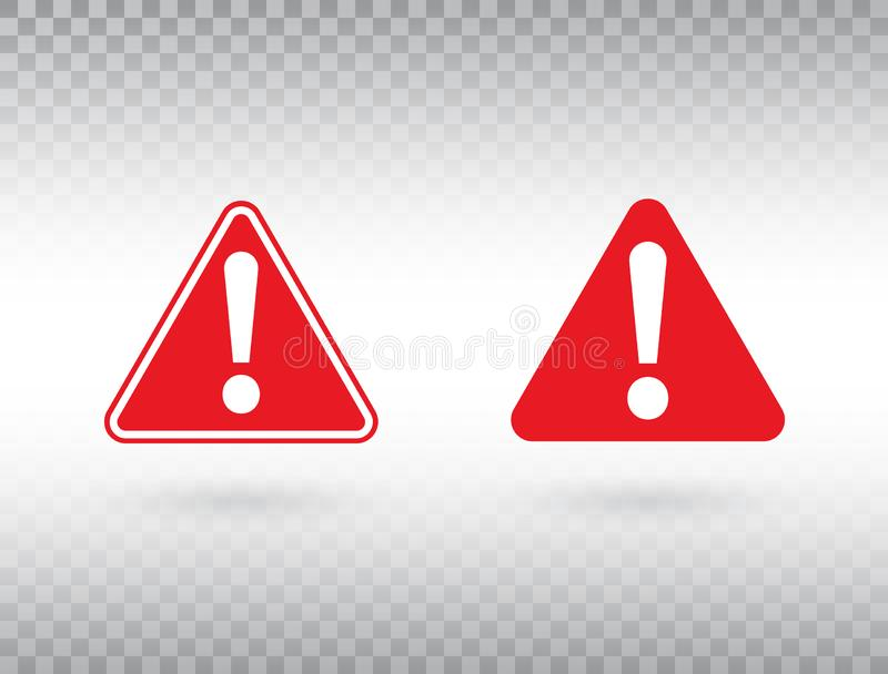 Warning symbol set. Exclamation mark in red triangles. Attention button isolated on transparent background. Warning sign. Exclamation mark icon in flat style vector illustration