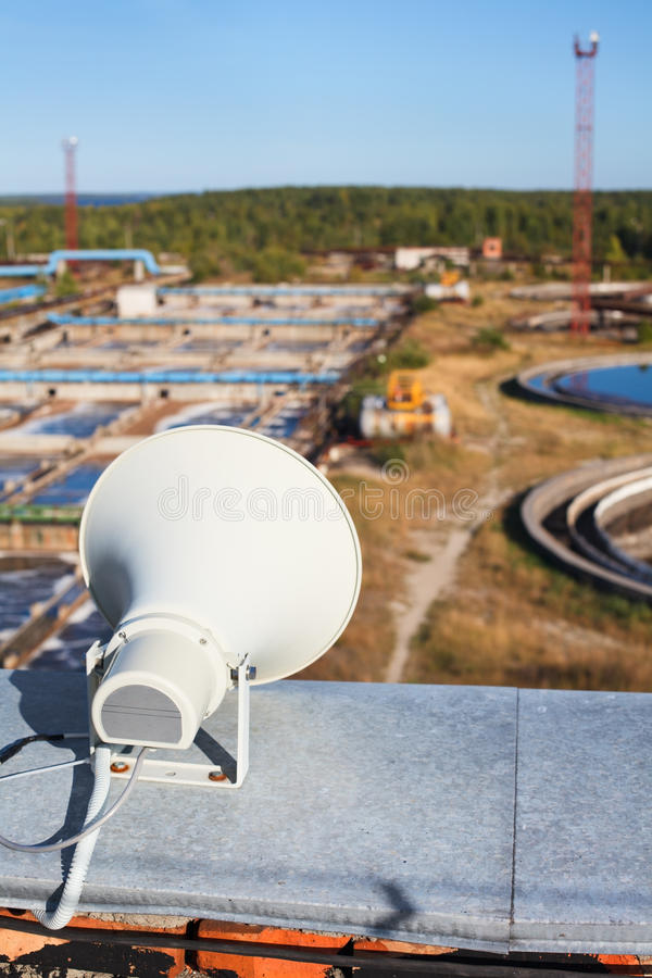 Warning system megaphone on the roof royalty free stock image