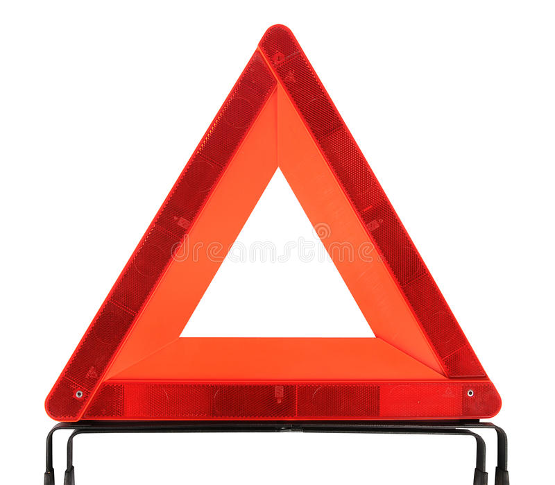Warning traffic accident sing. Red triangle warning traffic accident sing royalty free stock photography