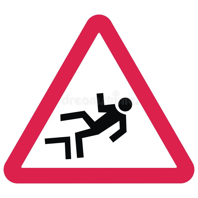 Warning traffic signs. Danger of falling from a height. royalty free illustration
