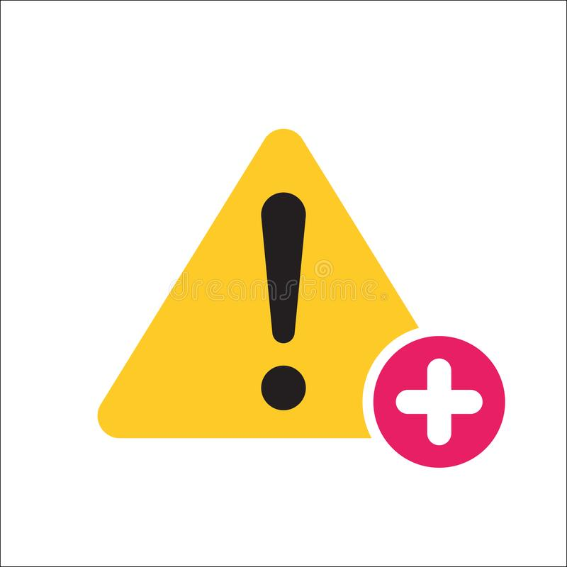 Warning triangle icon, Error, alert, problem, failure icon with add sign. Warning triangle icon and new, plus, positive symbol. Vector royalty free illustration