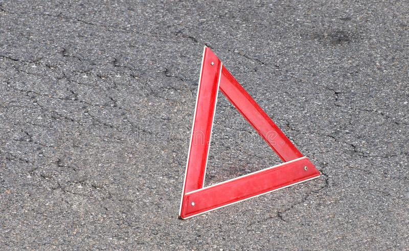 Warning triangle sign. Warning signs, folding emergency triangle traffic sign royalty free stock photos