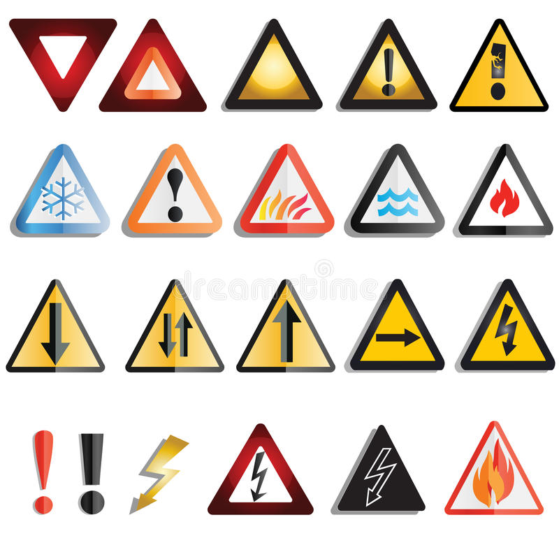 Download Warning triangles stock vector. Image of black, flame - 22881881
