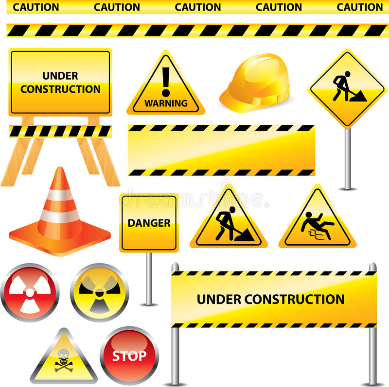 Warning and under construction signs. Set royalty free illustration