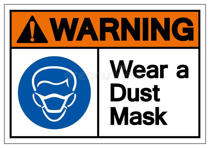 Warning Wear A Dust Mask Symbol Sign, Vector Illustration, Isolate On White Background Label .EPS10 vector illustration