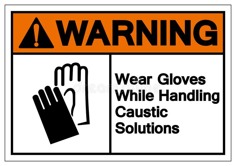 Warning Wear Gloves While Handling Caustic Solutions Symbol Sign ,Vector Illustration, Isolate On White Background Label .EPS10 royalty free illustration