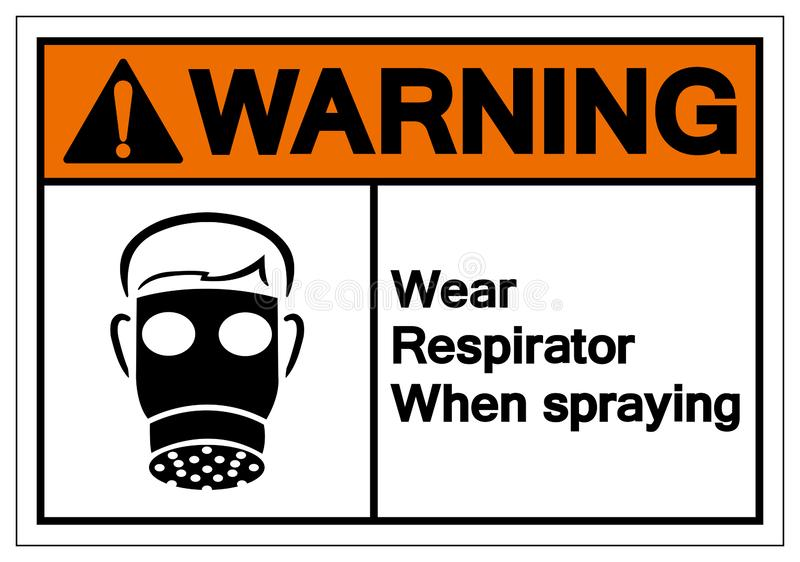 Warning Wear Respirator When Spraying Symbol Sign, Vector Illustration, Isolate On White Background Label. EPS10 vector illustration