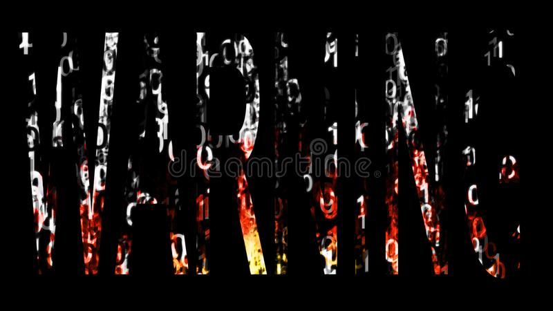 Warning. Word by binary code, antivitus concept royalty free stock images