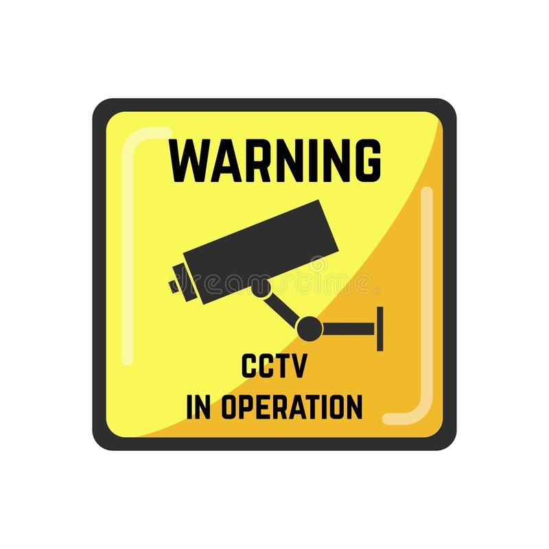 Warning yellow square sign of CCTV in operation vector illustration