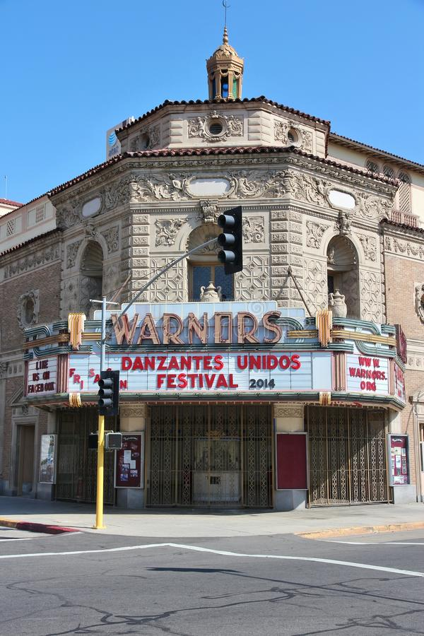 Warnors Theatre, Fresno. FRESNO, UNITED STATES - APRIL 12, 2014: Warnors Theatre in Fresno, California. The building was completed in 1928 and is on US National royalty free stock images