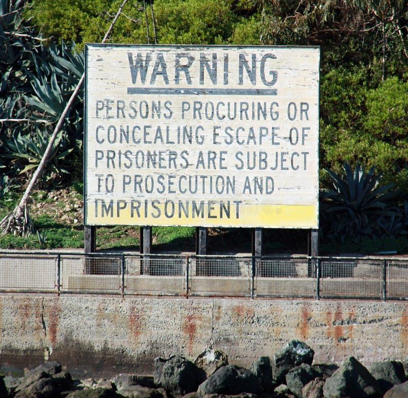 Warnzeichen bei Alcatraz lizenzfreie stockfotografie