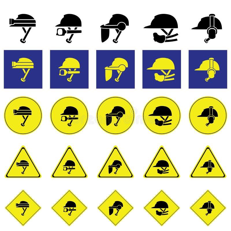 Warnzeichen der Anwendung von Vielzahl des Sturzhelms lizenzfreie abbildung