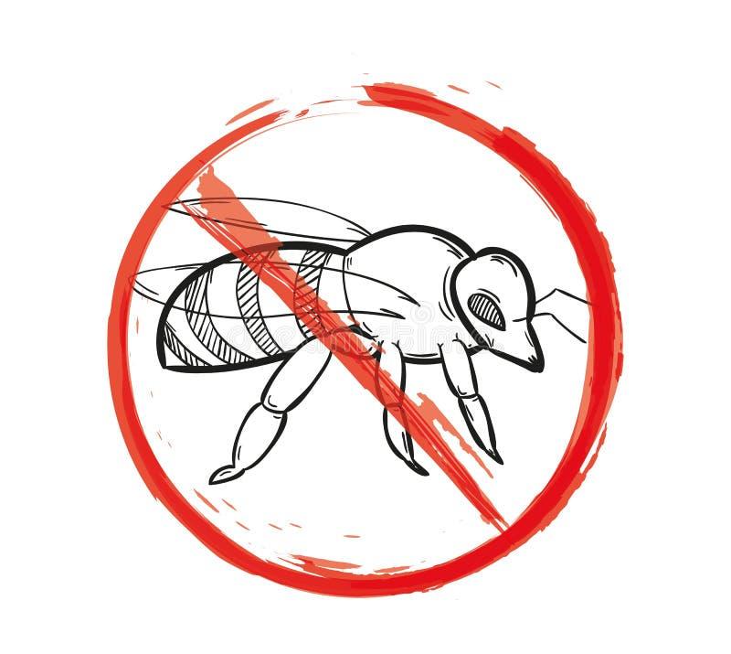 Warnzeichen der Biene lizenzfreie abbildung