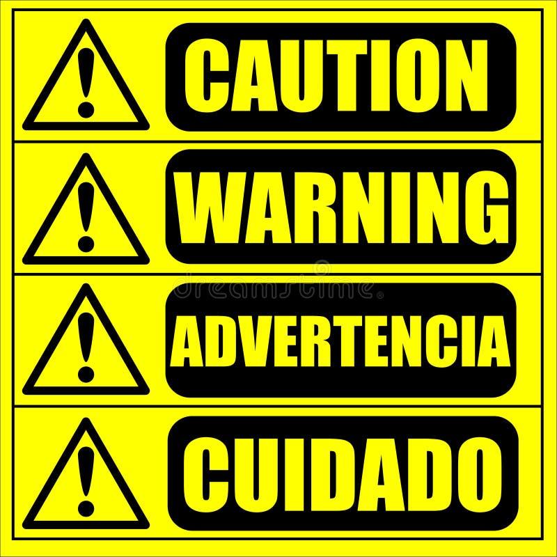 Warnzeichen der Vorsicht auf dem gelben Hintergrund stock abbildung