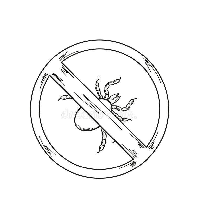 Warnzeichen der Zecke, Skizze stock abbildung