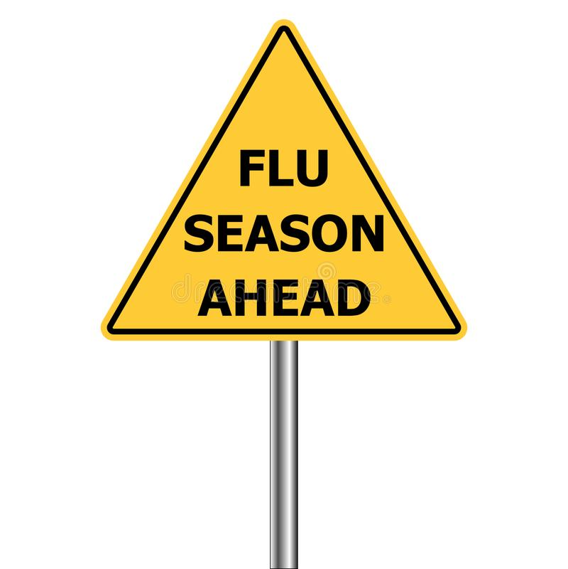 Warnzeichen des gelben Dreiecks, Vorsicht - Grippeimpfungen voran, Vektor Grippe-Saison, die H1N1 warnt stock abbildung