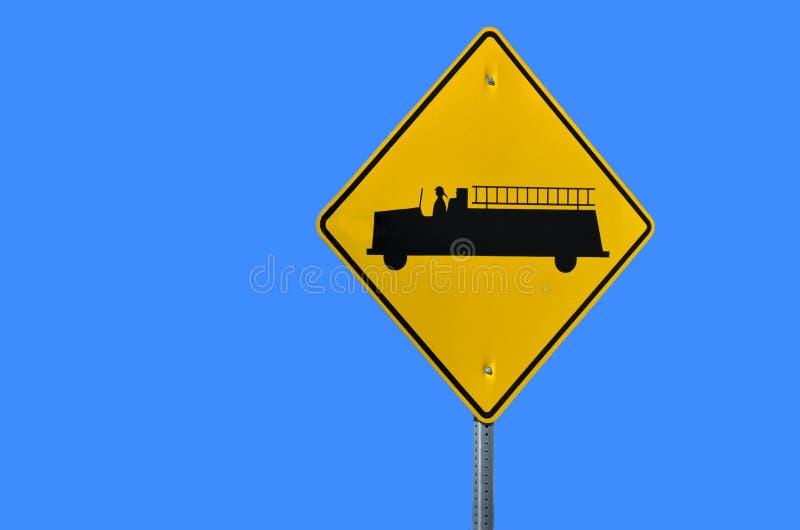 Warnzeichen des Löschfahrzeugs lizenzfreies stockfoto