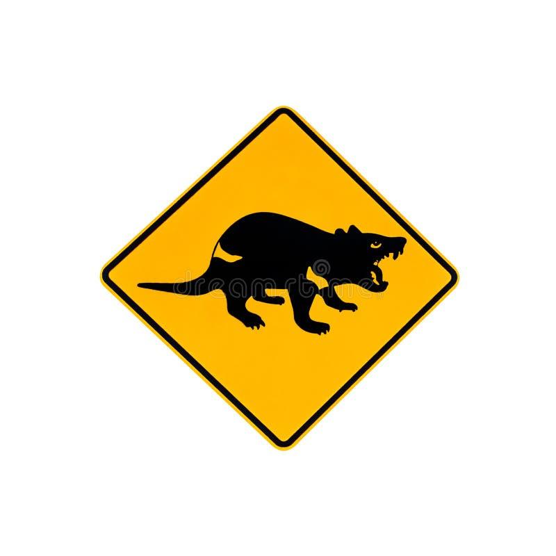 Warnzeichen des tasmanischen Teufels lizenzfreie stockbilder