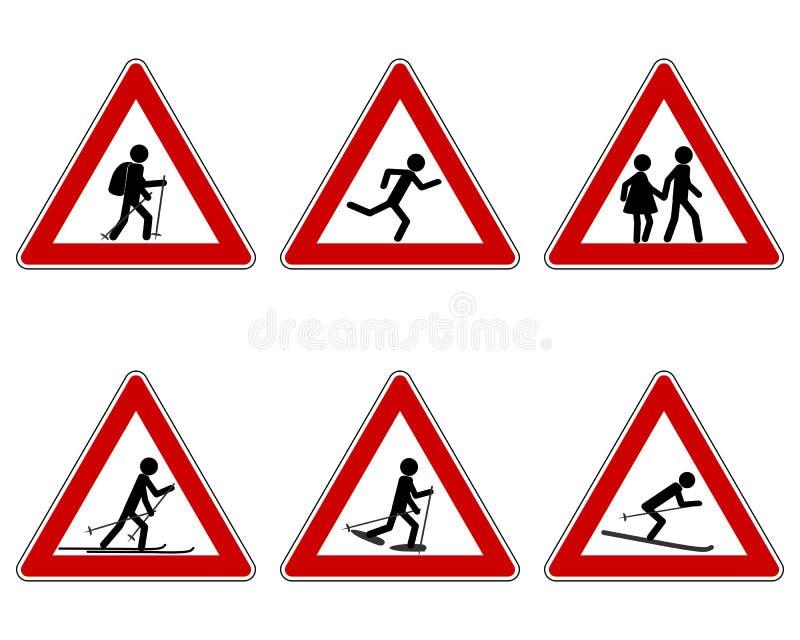 Warnzeichen des Verkehrs für verschiedenen Sport vektor abbildung