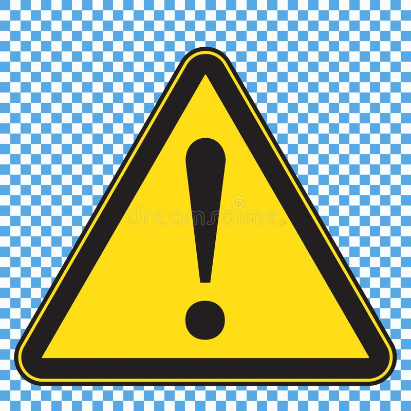 Warnzeichen, gelbes Zeichen des Dreiecks mit exlamation Kennzeichen lizenzfreie abbildung