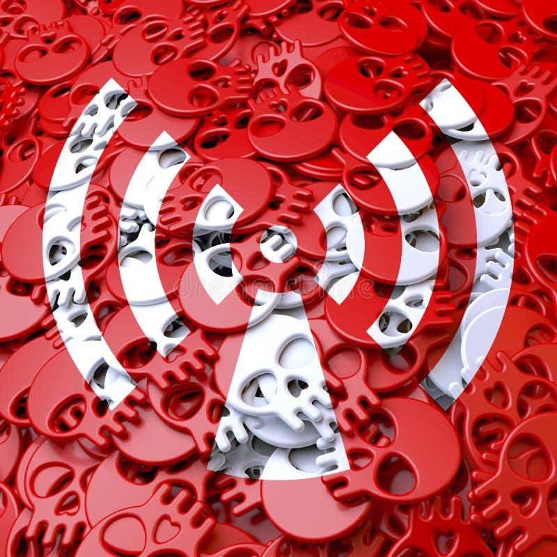 Warnzeichenstrahlung, Weiß, rote Schädel lizenzfreies stockbild