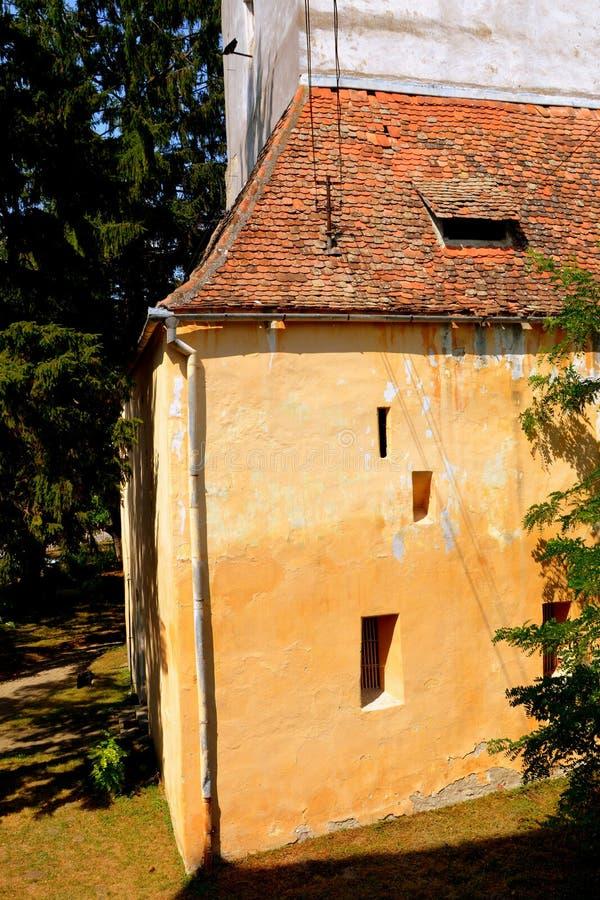 Warownego średniowiecznego saxon ewangelicki kościół w Agnita- Agnetheln, Transylvania, Rumunia fotografia royalty free