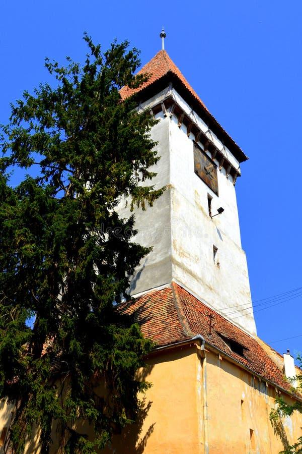 Warownego średniowiecznego saxon ewangelicki kościół w Agnita- Agnetheln, Transylvania, Rumunia zdjęcia royalty free