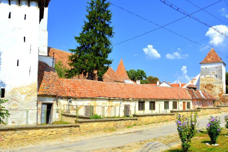 Warownego średniowiecznego saxon ewangelicki kościół w Agnita- Agnetheln, Transylvania, Rumunia obraz stock