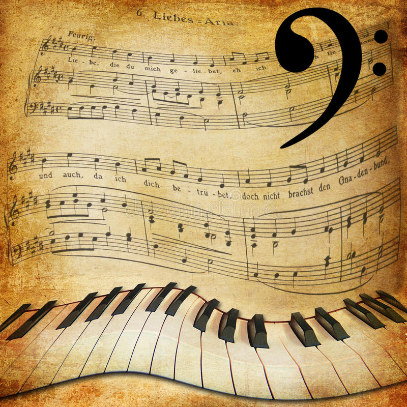 Warped piano and music sheet background stock photo