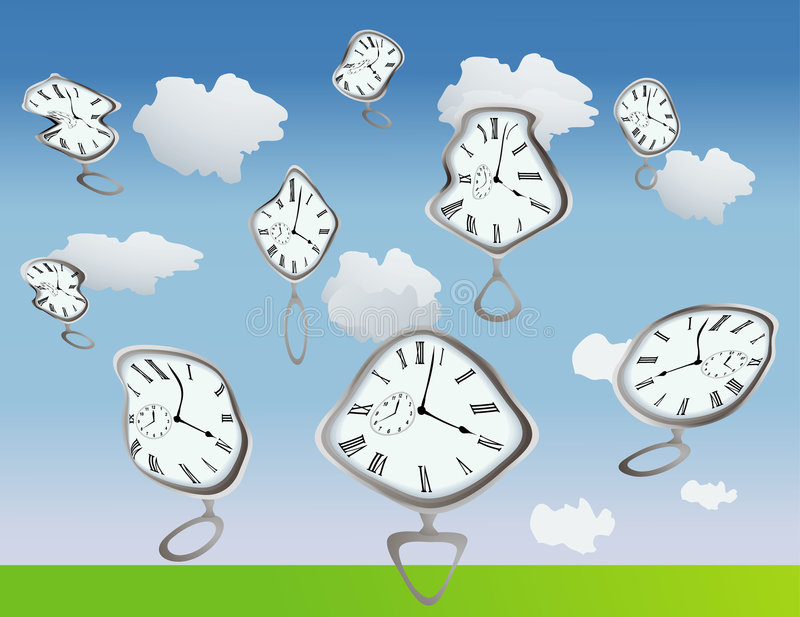 Warped Time. Clocks getting warped by, well, they are just warped, use your imagination vector illustration