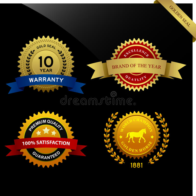 Warranty Guarantee Seal Ribbon Award stock illustration