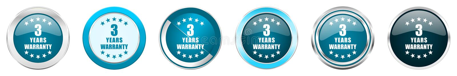 Warranty guarantee 3 year silver metallic chrome border icons in 6 options, set of web blue round buttons isolated on white. Background vector illustration