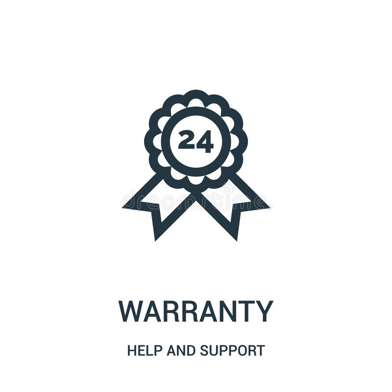 warranty icon vector from help and support collection. Thin line warranty outline icon vector illustration. Linear symbol for use royalty free illustration