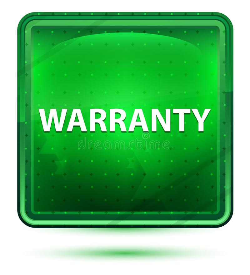 Warranty Neon Light Green Square Button. Warranty Isolated on Neon Light Green Square Button royalty free illustration