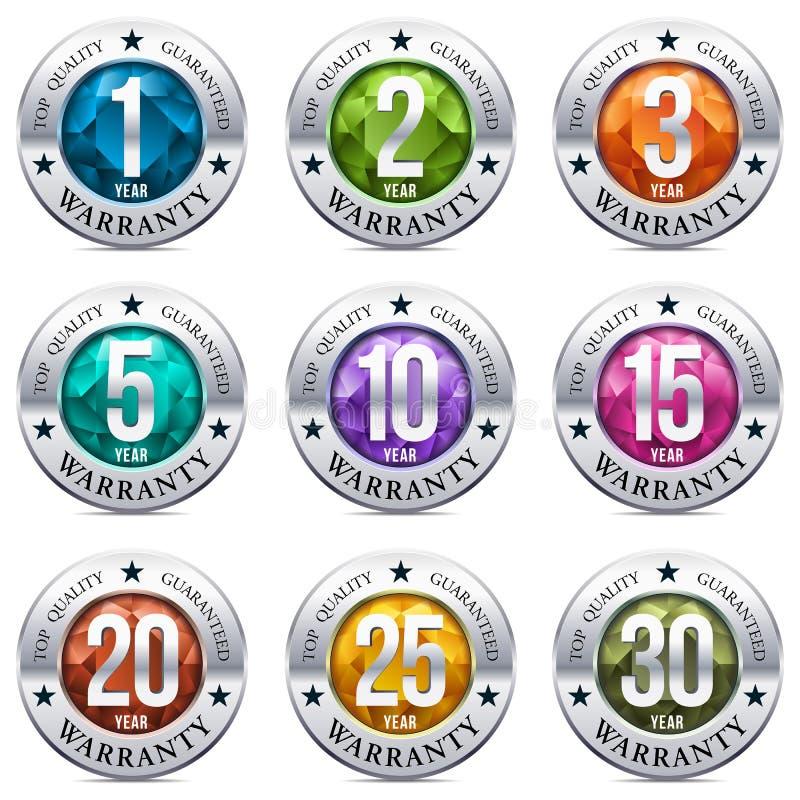 Warranty Seal Chrome Badge vector illustration