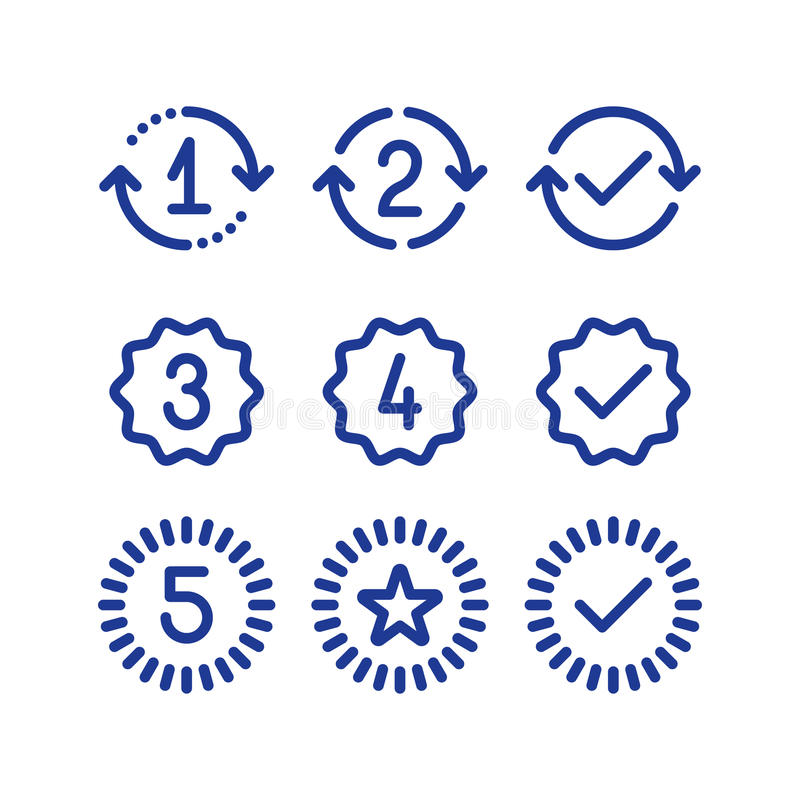 Warranty years signs, guarantee service period, approved mark, line icons royalty free illustration